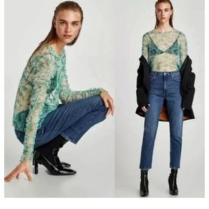 Zara green floral mesh top NWT medium